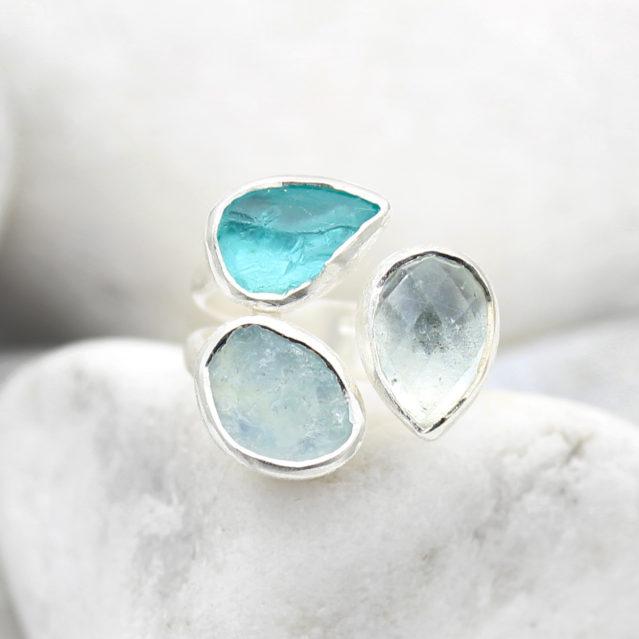 Aquamarine and Apatite Gemstone Adjustable Sterling Silver Ladies Ring