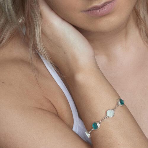 Aquamarine & Apatite Gemstone Sterling Silver Bracelet