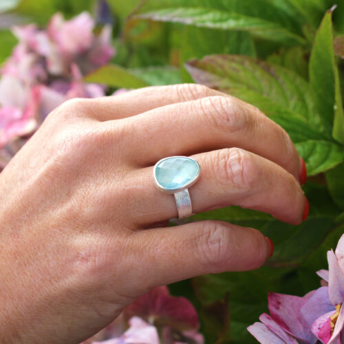 Aquamarine Rosecut Gemstone Adjustable Sterling Silver Ring