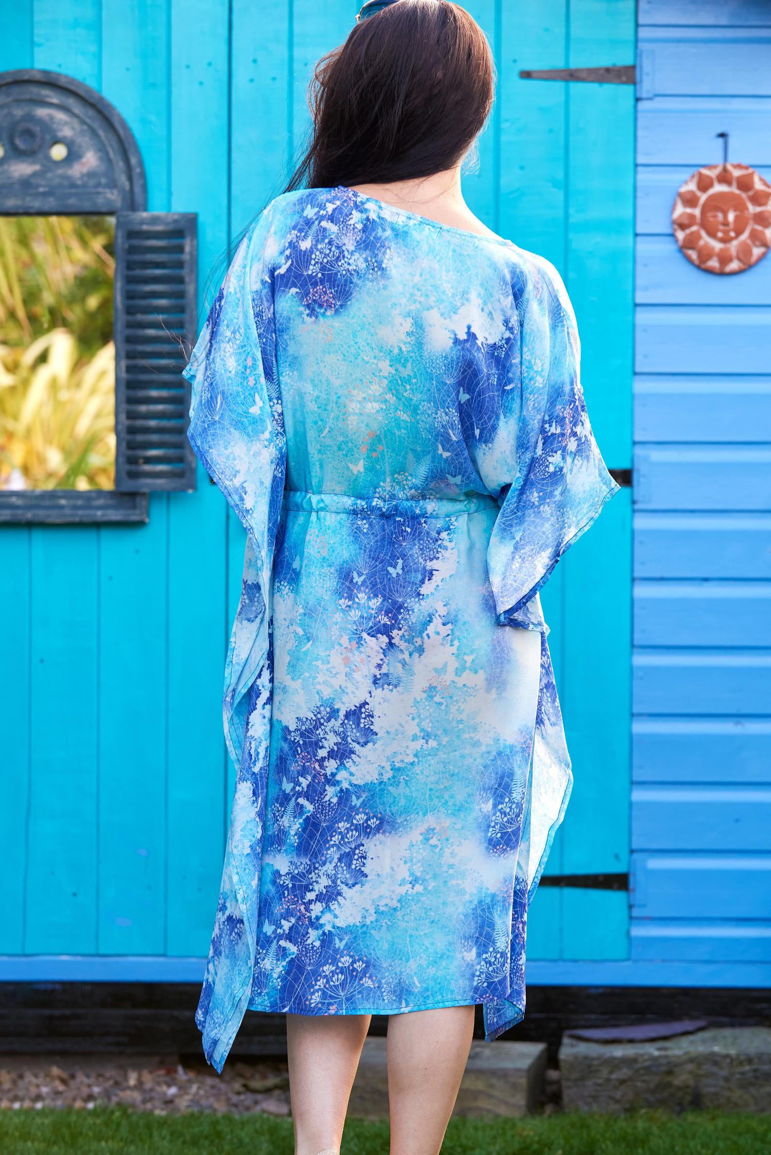 Blue Watercolour Botanical Print Silk Kaftan Midi