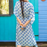 Blue Pebble Print Silk Kaftan Midi