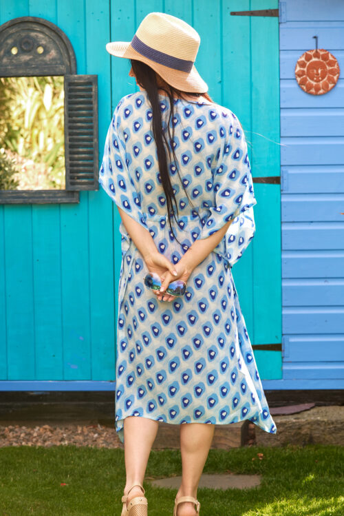 Blue Pebble Print Silk Kaftan Midi
