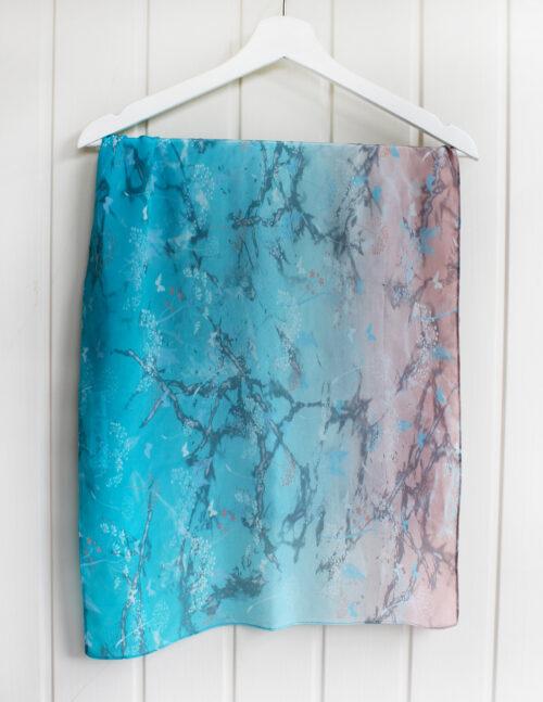 Botanical Print Ombre Silk Scarf