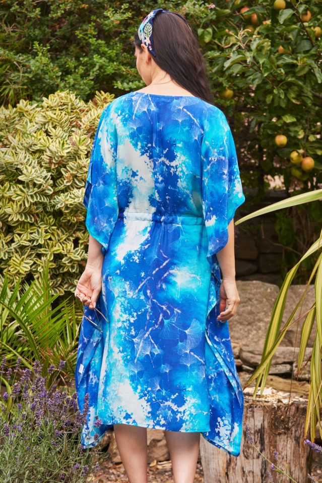 Cobalt Blue Watercolour Print Silk Kaftan Midi