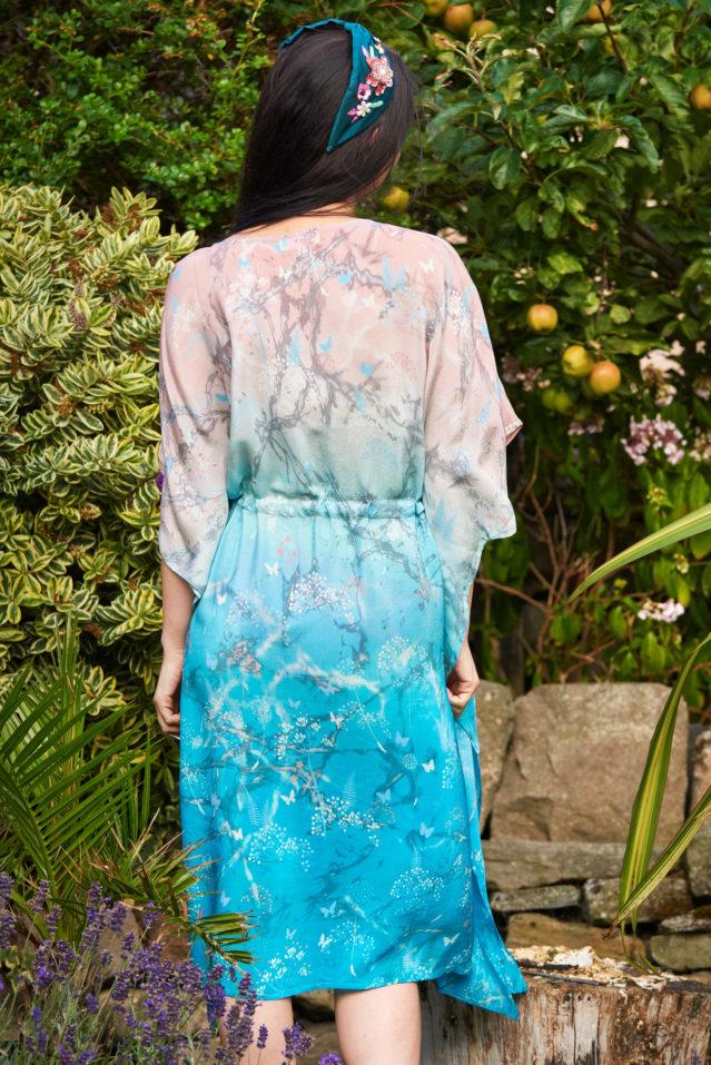 Coral Jade Ombre Botanical Print Silk Kaftan