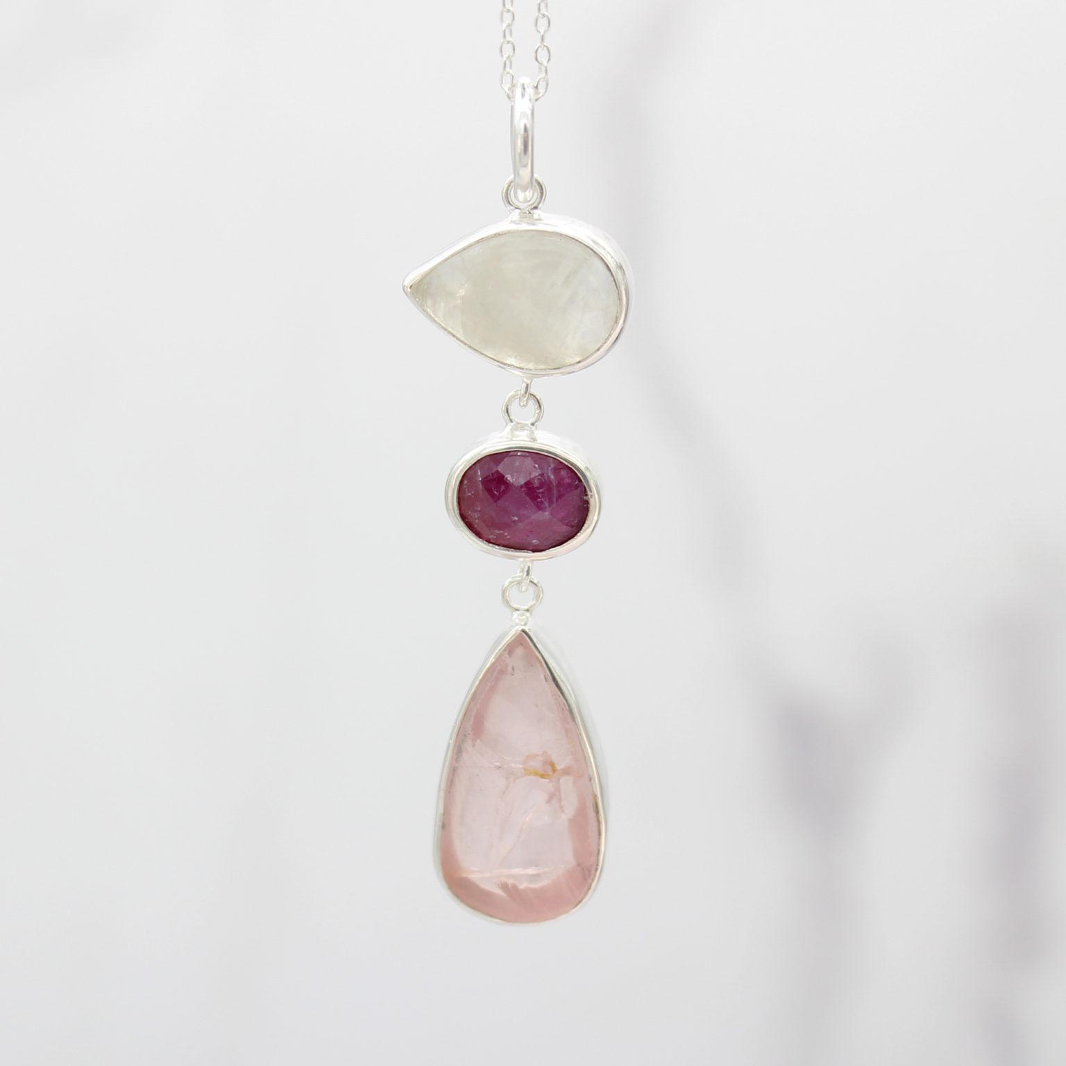 Ruby, Moonstone & Rose Quartz Gemstone Silver Pendant