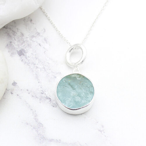 Aquamarine Gemstone Handmade Ladies Sterling Silver Pendant