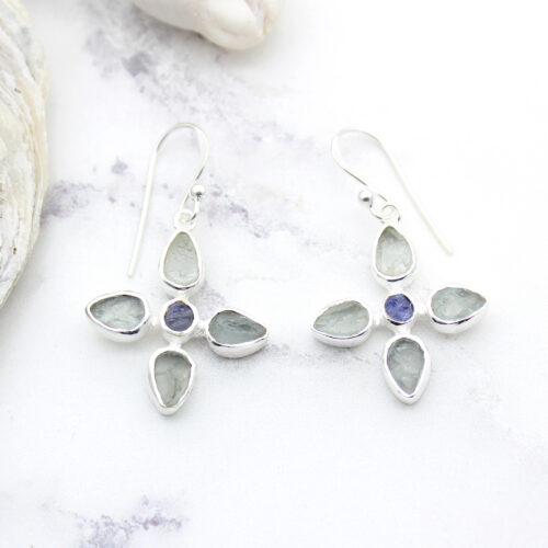 Aquamarine & Tanzanite Gemstone Sterling Silver Flower Earrings