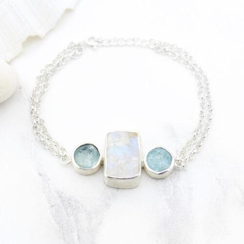 Moonstone & Aquamarine Gemstone Handmade Sterling Silver Bracelet