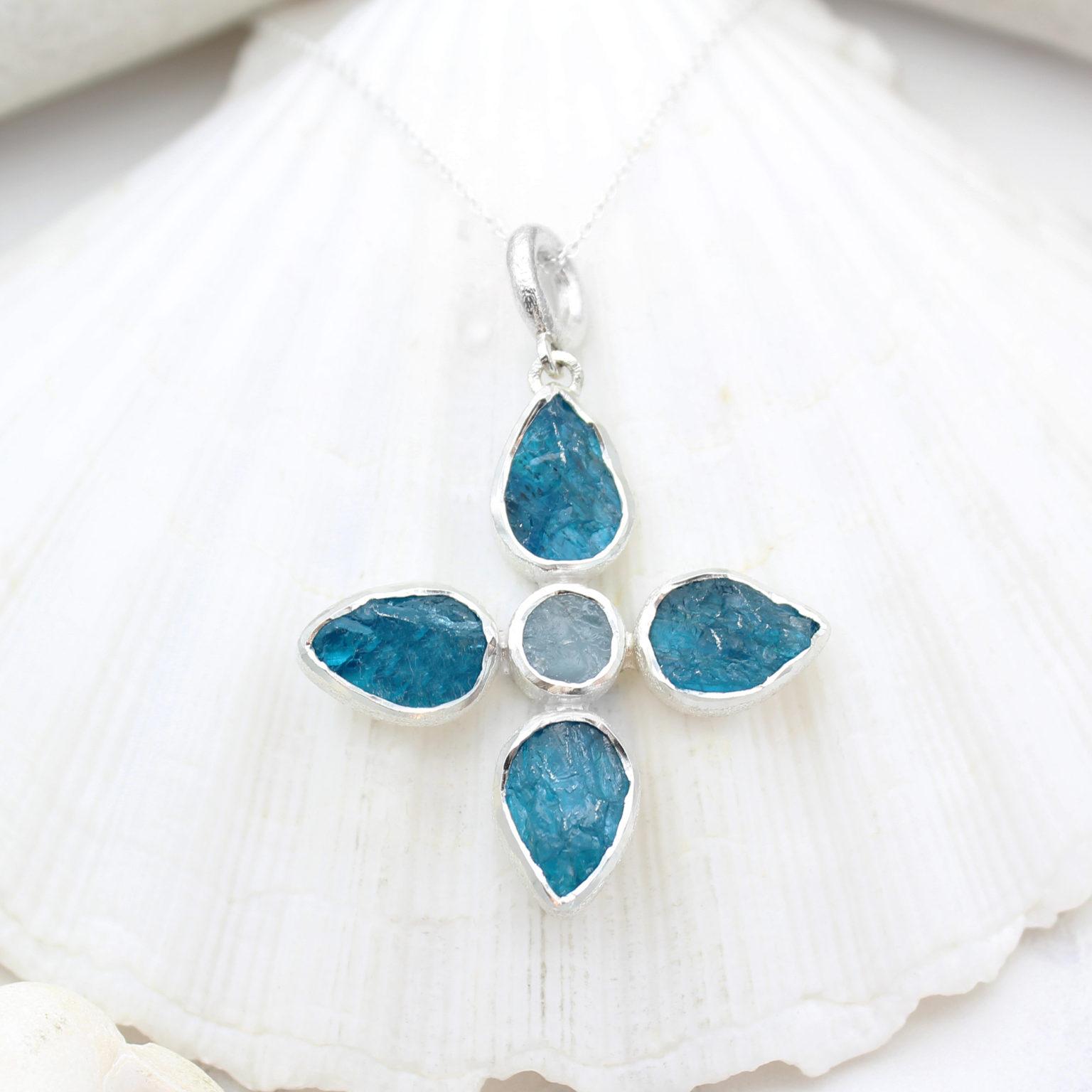 Handmade Apatite & Aquamarine Gemstone Flower Ladies Pendant