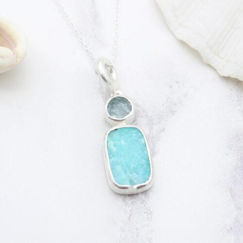 Handmade Amazonite & Aquamarine Gemstone Pendant
