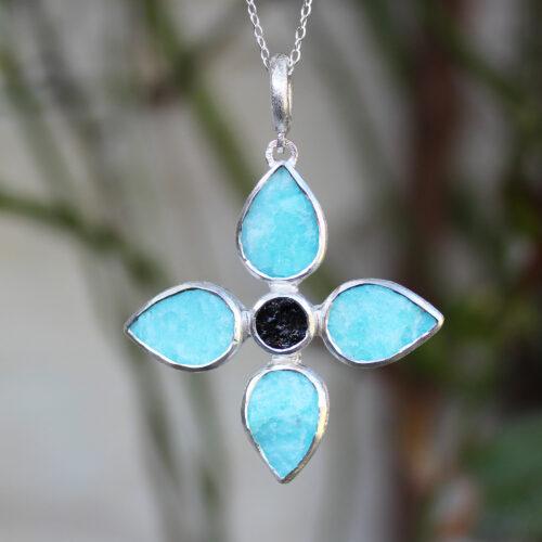 Handmade Amazonite & Black Tourmaline Gemstone Flower Pendant