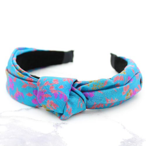 Handmade Blue & Coral Print Silk Sari Ladies Headband