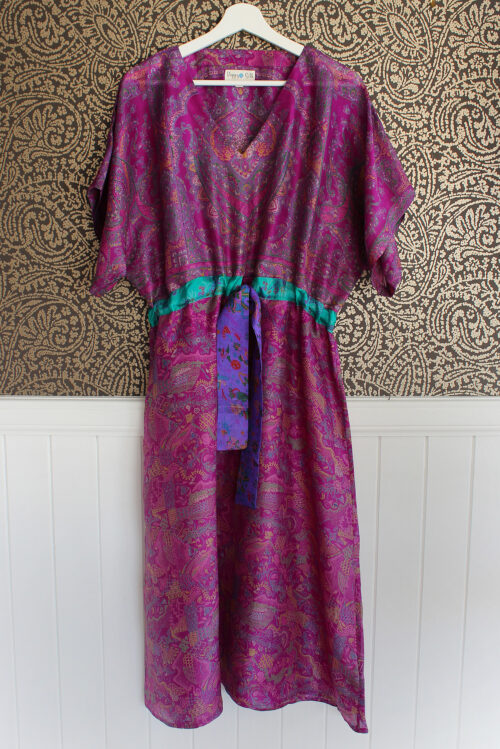Jacinda Recycled Silk Sari Print Dress J2