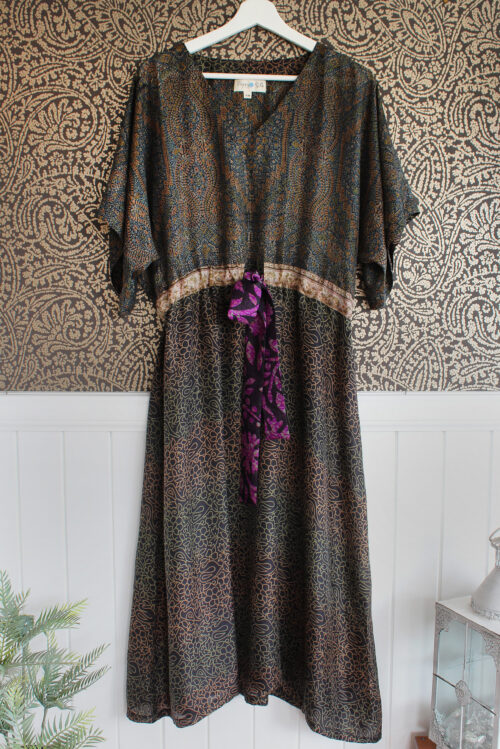 Jacinda Recycled Silk Sari Print Dress J3