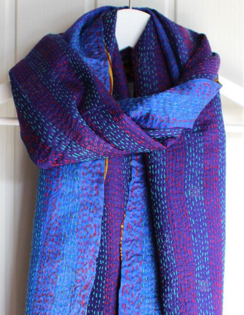 Rosa Silk Kantha Stitch Reversible Scarf S2