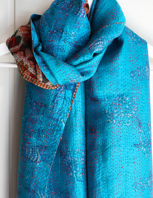 Rosa Silk Kantha Stitch Reversible Scarf S7