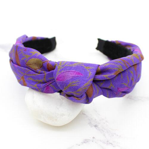 Purple Print Silk Sari Upcycled Ladies Headband