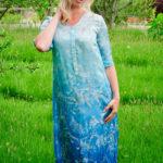 Cassia Dress in Blue Ombre Botanical