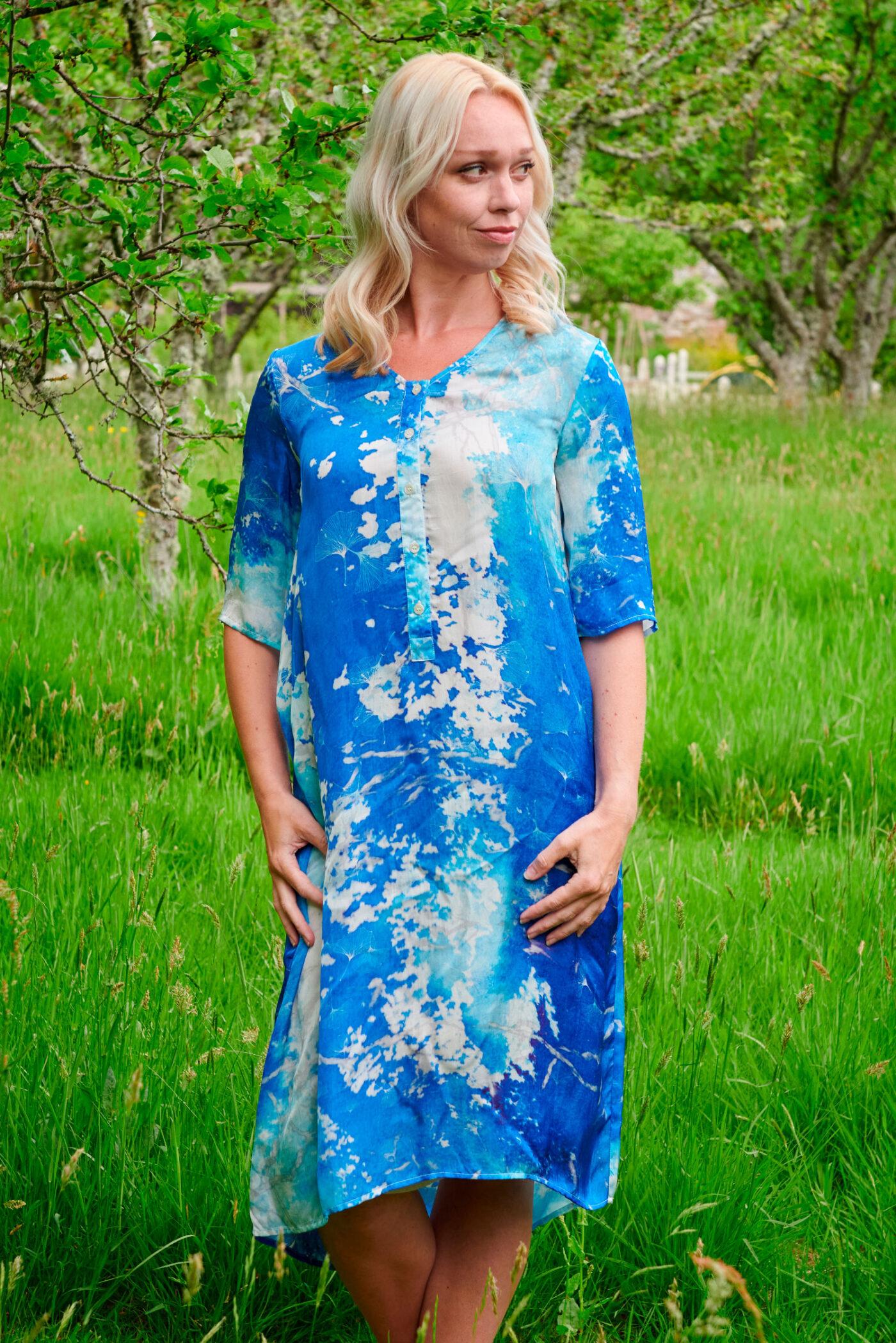 Cassia Dress in Cobalt Blue Watercolour