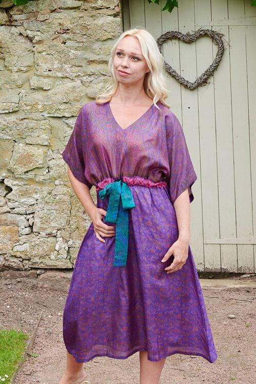 Jacinda Recycled Silk Sari Print Dress J10