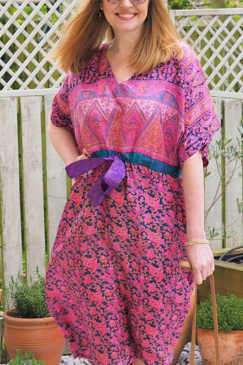 Jacinda Recycled Silk Sari Print Dress J11