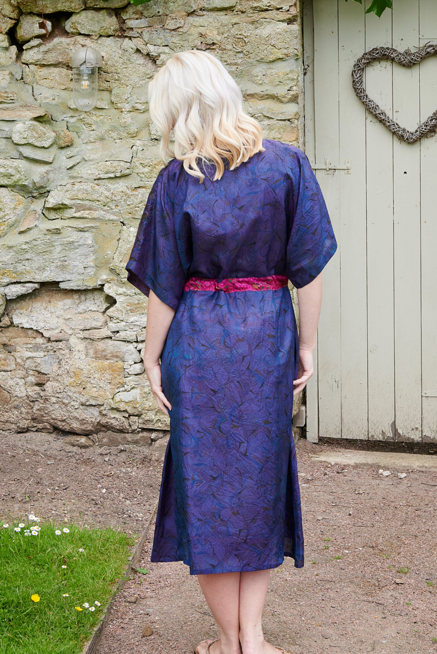 Jacinda Recycled Silk Sari Print Dress J15