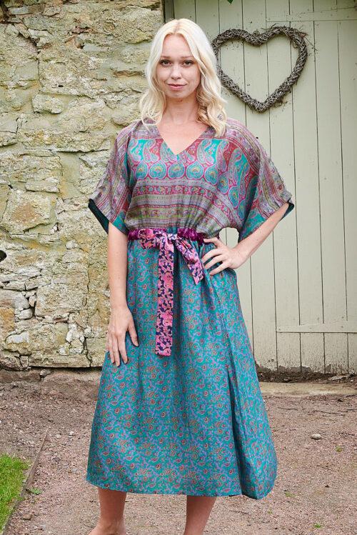 Jacinda Recycled Silk Sari Print Dress J20