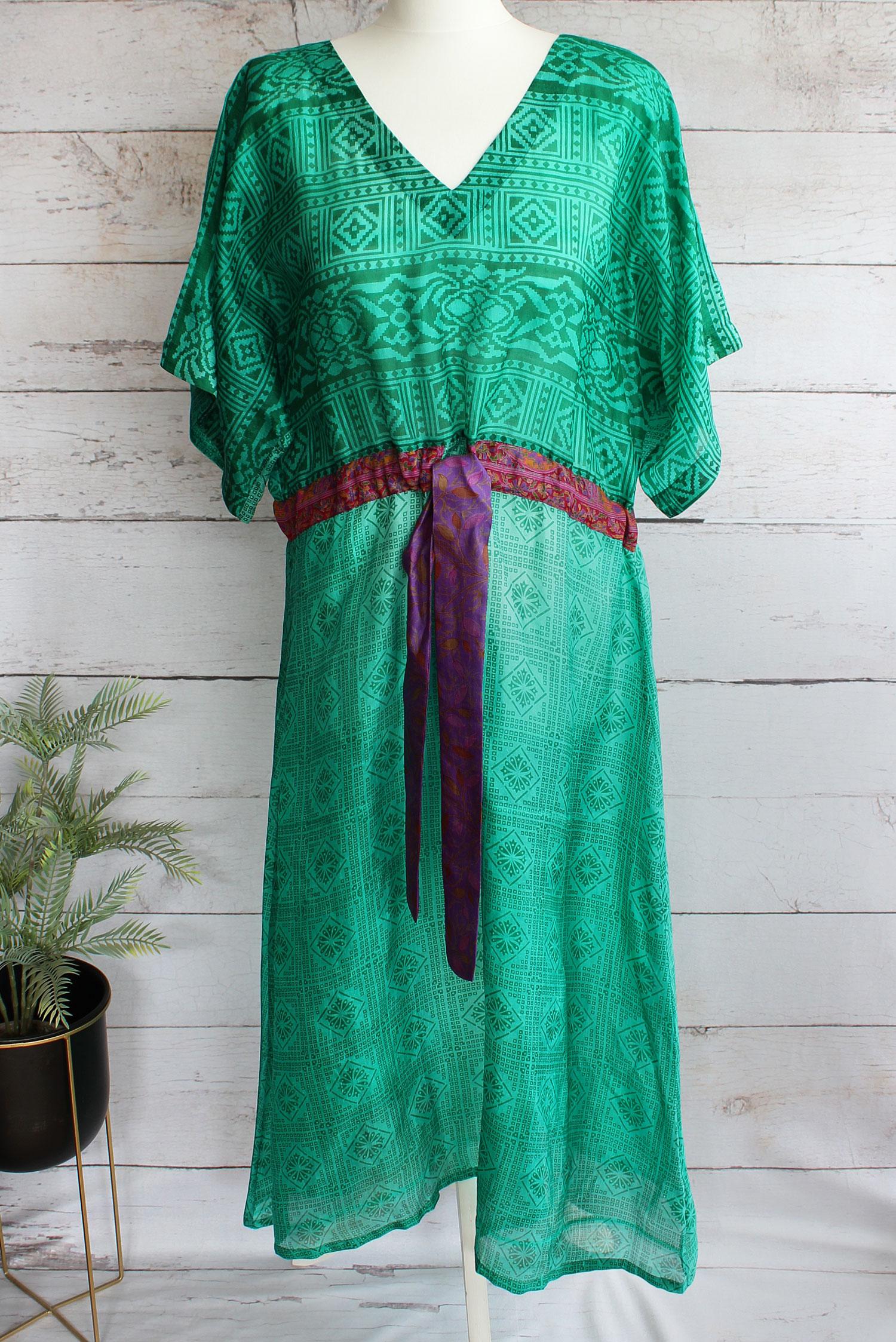 Jacinda Recycled Silk Sari Print Dress J22