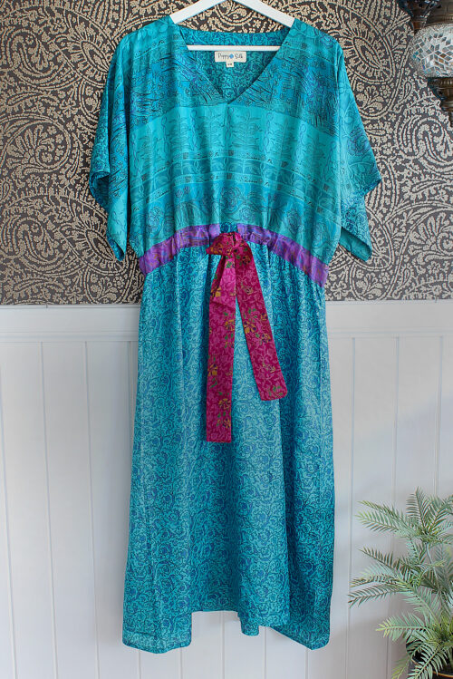 Jacinda Recycled Silk Sari Print Dress J23