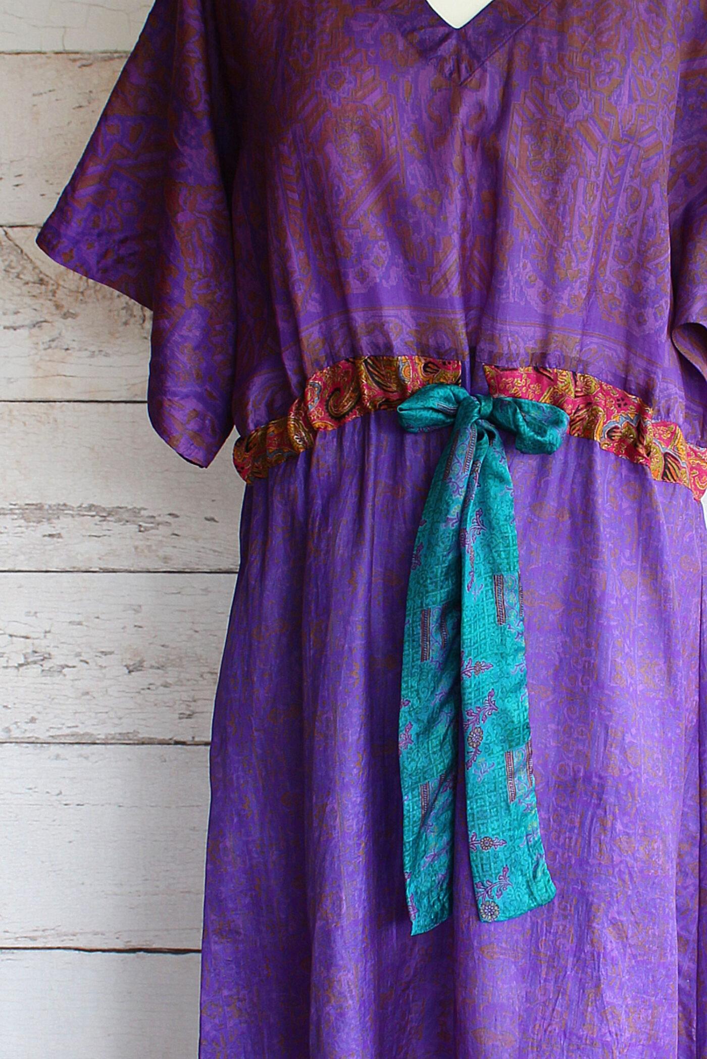 Jacinda Recycled Silk Sari Print Dress J24