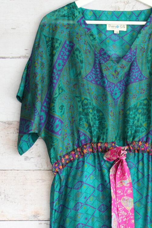 Jacinda Recycled Silk Sari Print Dress J26