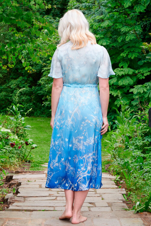 Liana Dress in Blue Ombre Botanical