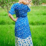 Liana Dress in Blue Poppies