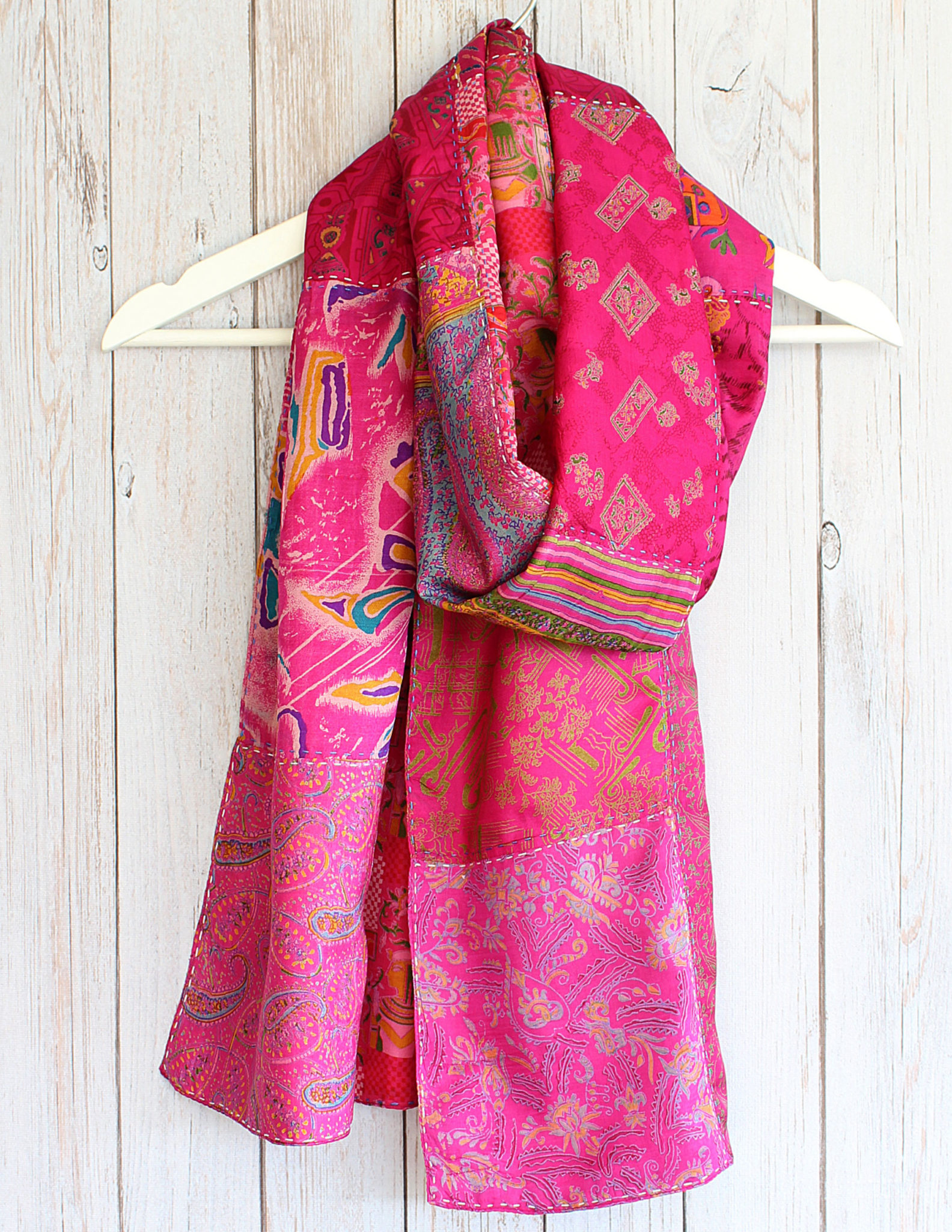 Pink Kantha Handstitched Recycled Silk Scarf