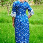 Rosella Dress in Blue Poppies