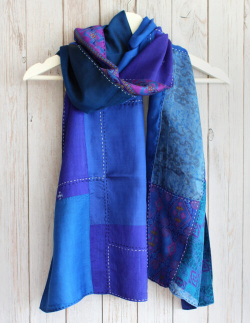 Blue Kantha Handstitched Recycled Silk Scarf