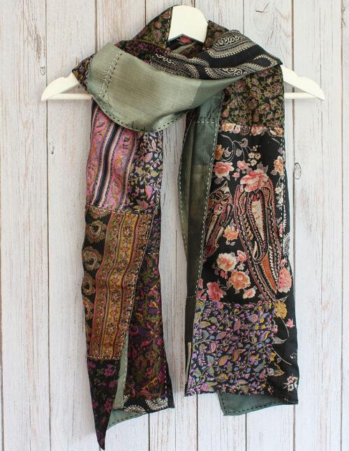 Black Kantha Handstitched Recycled Silk Scarf