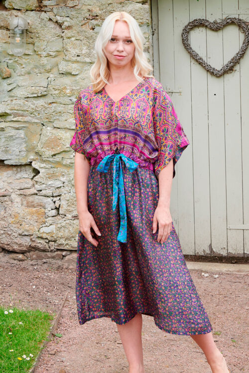Jacinda Recycled Silk Sari Print Dress J27