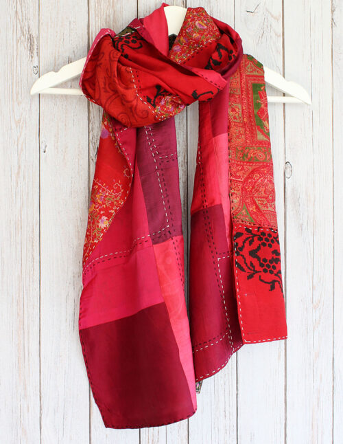 Red Kantha Handstitched Recycled Silk Scarf