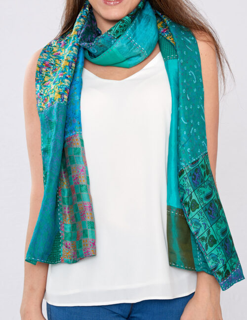 Green Kantha Handstitched Recycled Silk Scarf