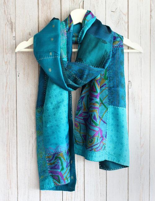 Teal Blue Kantha Handstitched Recycled Silk Scarf