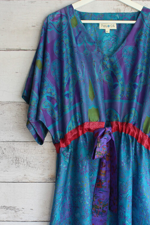 Jacinda Recycled Silk Sari Print Dress J30