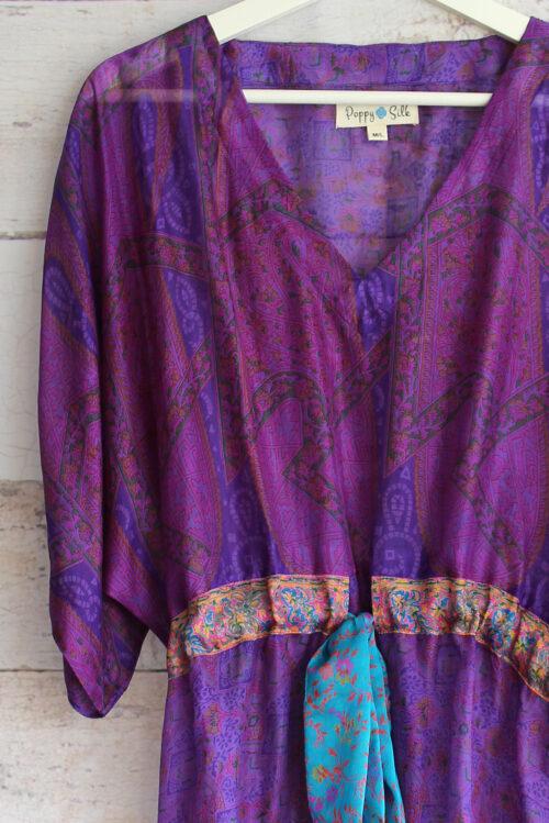Jacinda Recycled Silk Sari Print Dress J33