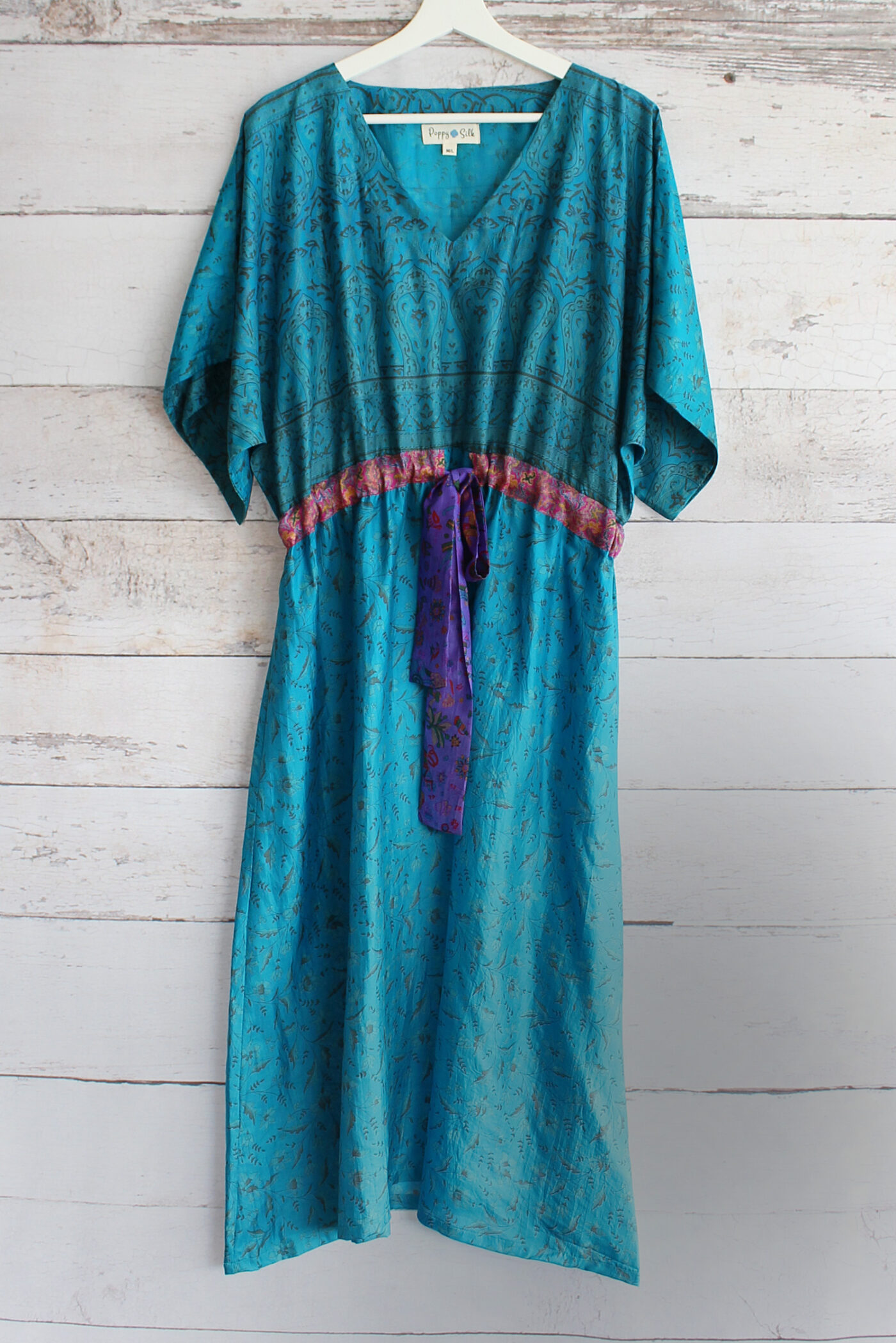 Jacinda Recycled Silk Sari Print Dress J34