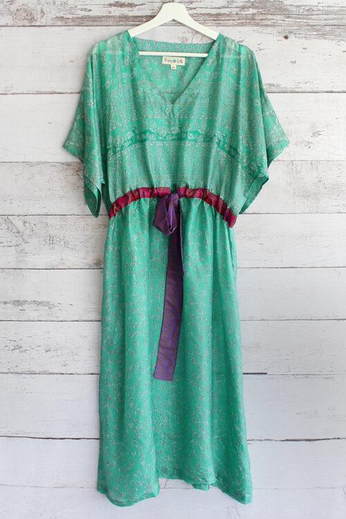 Jacinda Recycled Silk Sari Print Dress J36