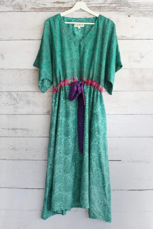 Jacinda Recycled Silk Sari Print Dress J37