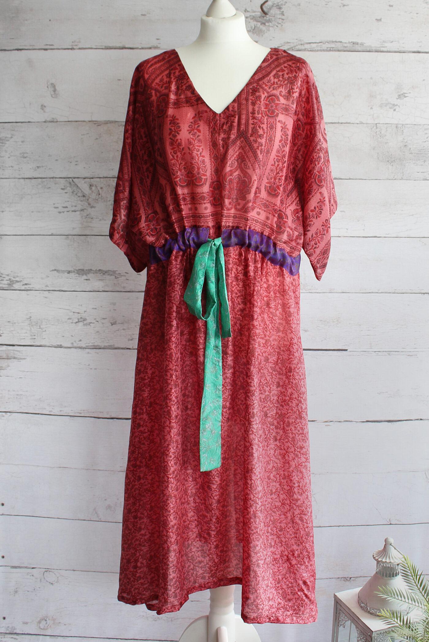 Jacinda Recycled Silk Sari Print Dress J38