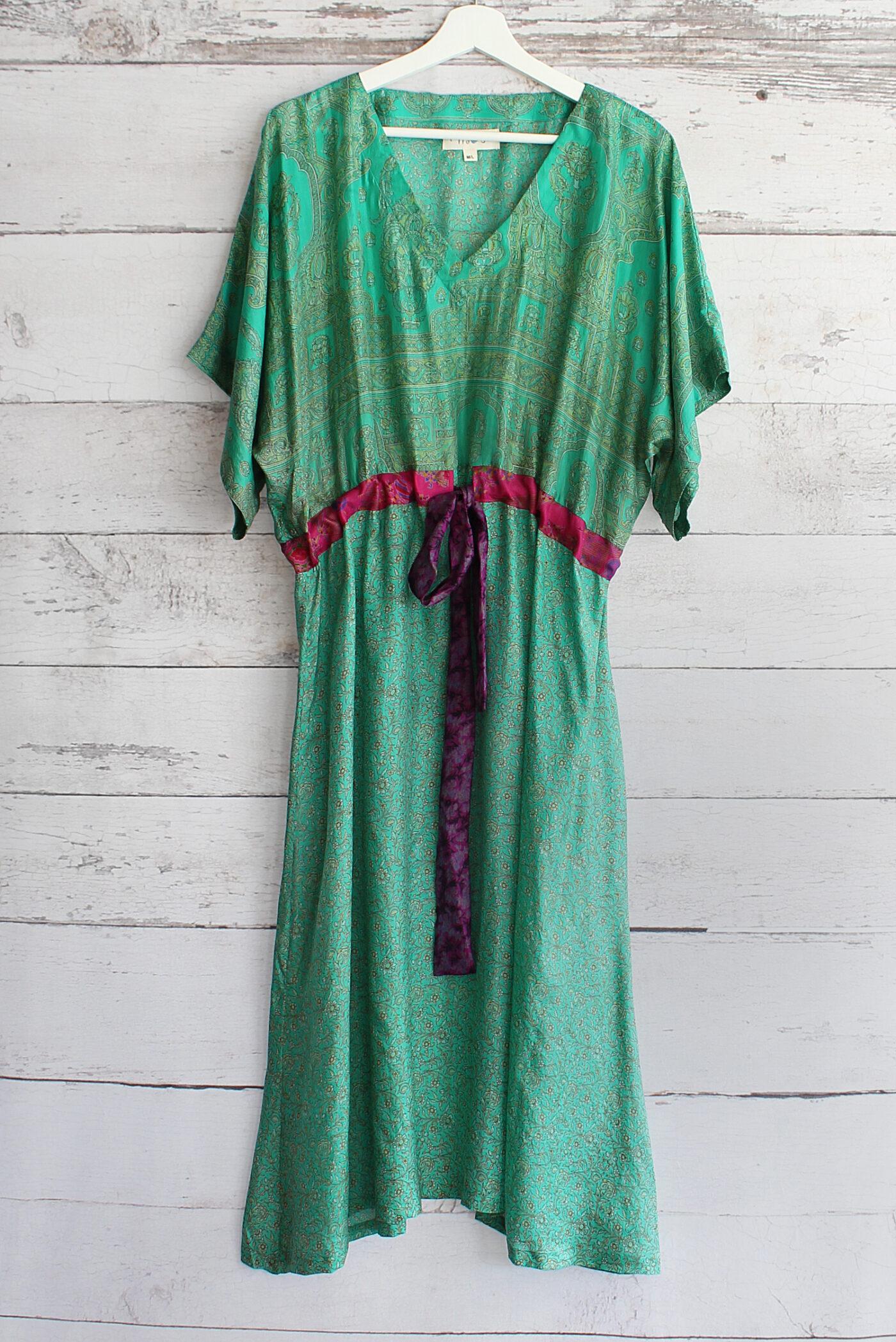 Jacinda Recycled Silk Sari Print Dress J39