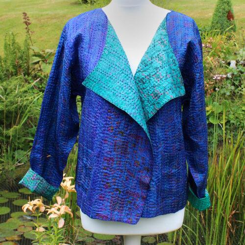 Blue & Green Kantha Hand Stitched Silk Sari Ladies Jacket